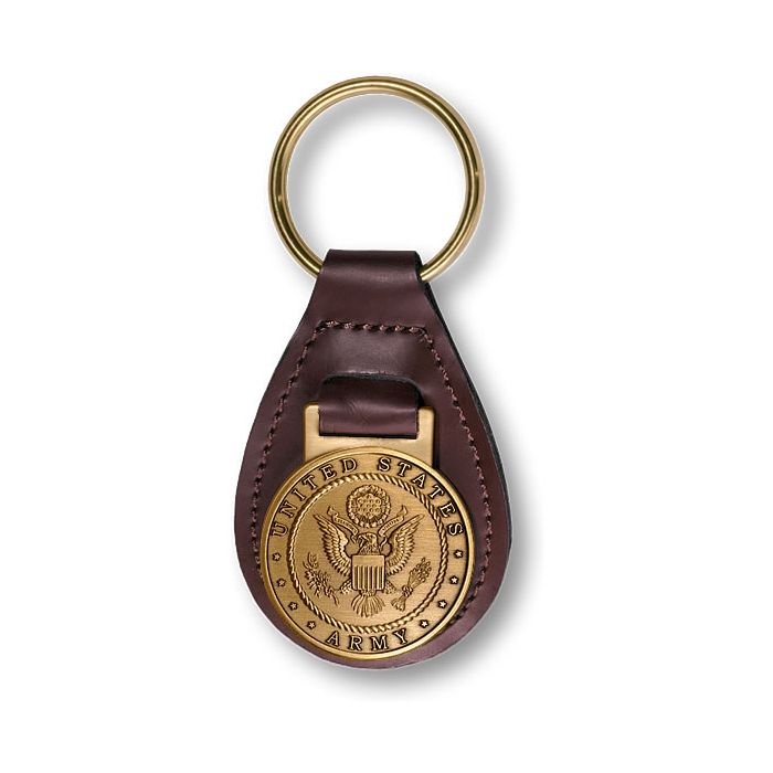 United States Army with Army Seal on Leather Key Fob