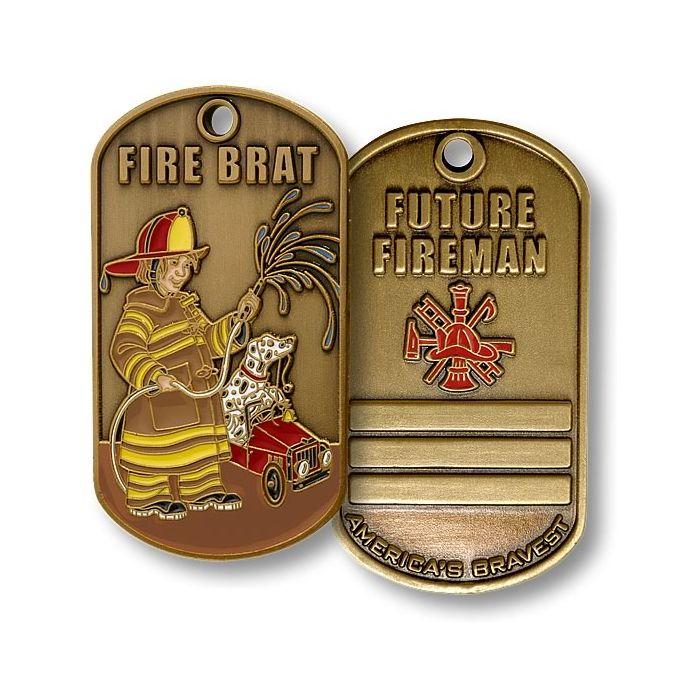 "FIREFIGHTERS /""AMERICA/'S BRAVEST/""  Brass Hat Pin"