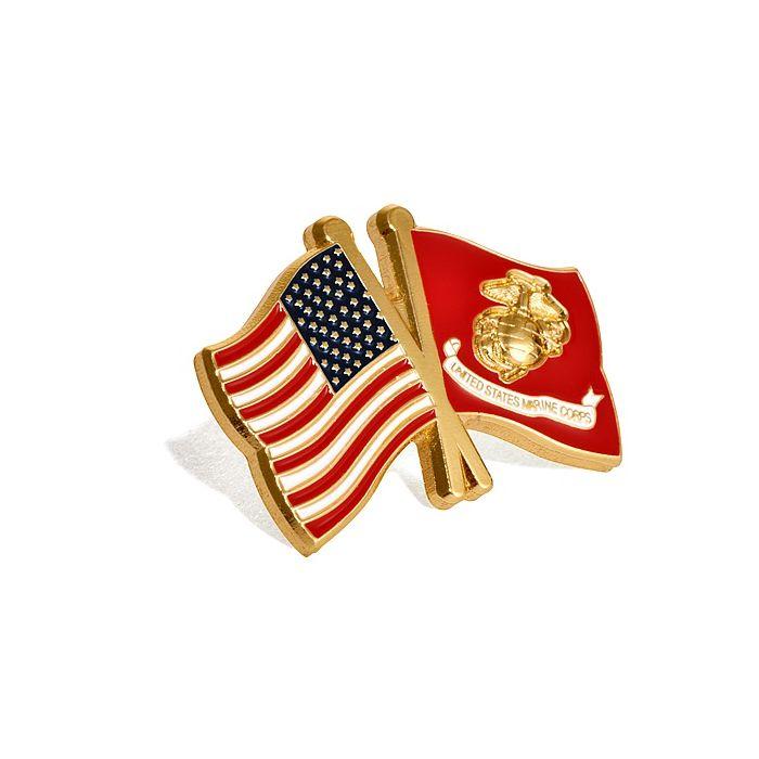 NEW USA and USMC U.S Marine Corps Flags Lapel Pin.