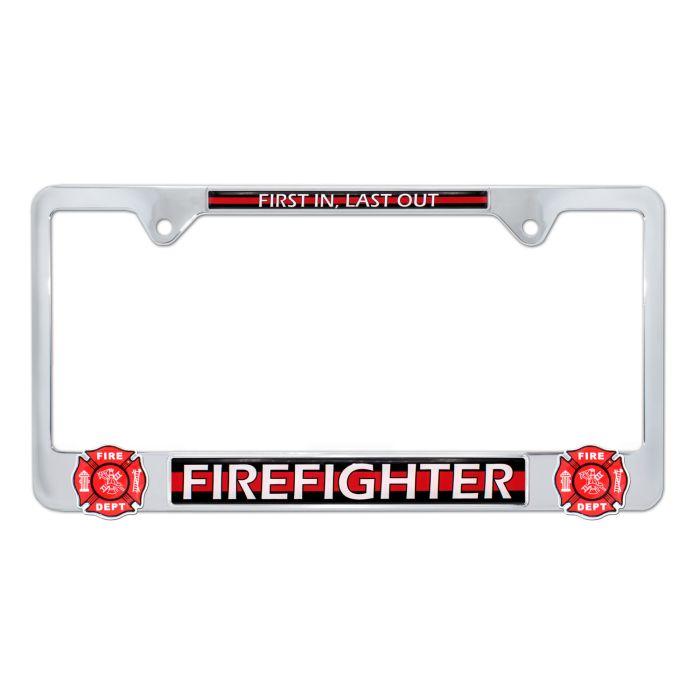 Elektroplate Firefighter Red Line License Plate Frame